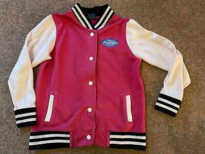 Girls Disney Frozen Pink and White Bomber Jacket Disney. Age 7-8 Years Anna Elsa