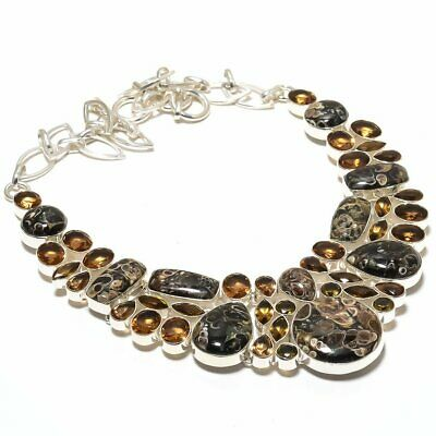 Turritella Fossil, Smoky Topaz Gemstone 925 Sterling Silver Necklace 18""