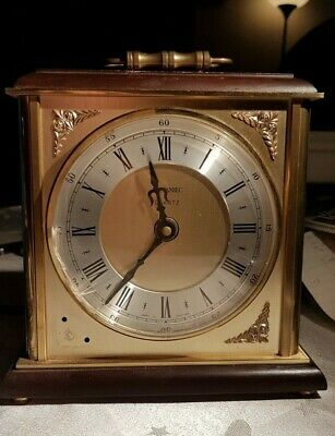 Vintage Metamec Quartz Brass Carriage Mantle piece Clock ~ for spares or repair
