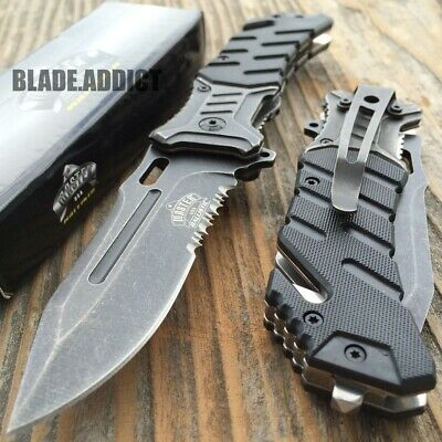 "8"" BALLISTIC Tactical Combat Assisted Open Spring Pocket Rescue Knife EDC B-T"
