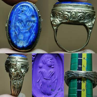 Lapis lazuli Old Wonderful intaglio stone emperor Lovely Ring # 134