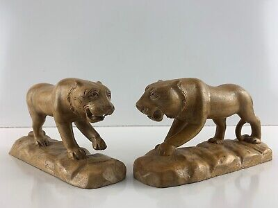 Lot Of 2 Vintage Hand Carved Wood Walking Lion Animal Sculpture Cat Folk Art 7""