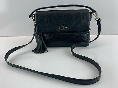 Kate Spade New York Leather Purse Black Pin Striped Lining Strap Concealed Carry