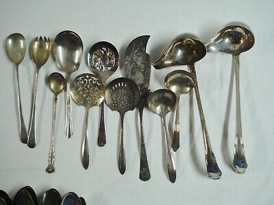 204pc Mixed Silverplate Flatware Lot Silverware Serving Wedding Craft Cater