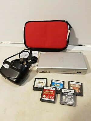 Nintendo DS Lite (Silver)with mains charger + 5 games + bag