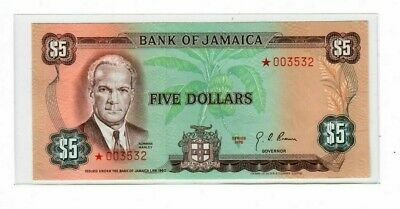 JAMAICA 5 DOLLAR 1976 Collector Series ~ STAR NOTE---CRISP UNCIRCULATED