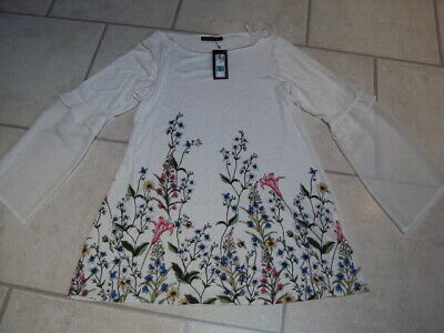 Bnwt Marks & Spencer (M&S) Long Sleeve Ivory Patterned Casual Top, Size 14