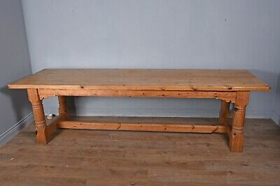Large Victorian pine refectory farm house table