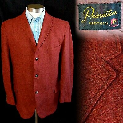 Vintage 1950s 1960s Princeton Clothes Rust Tweed 3 Button Sportcoat Jacket 40