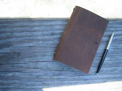 """Field Log Handmade Tan Brown Pullup Leather Cover for 3.5"""" x 5.5"""" Journals"""