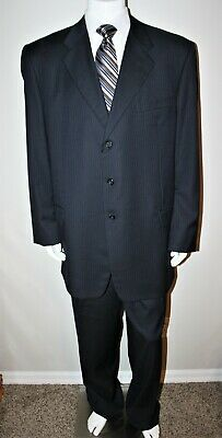 Hickey Freeman Boardroom Collection Men's 50 L Navy Blue Pinstripe 3 Button Wool