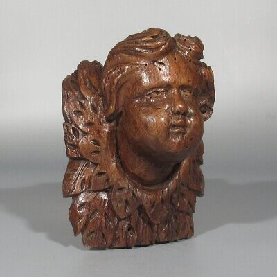 Antique French Hand Carved Wood Sculpture Full Relief Angel's Head Putti 18th C.
