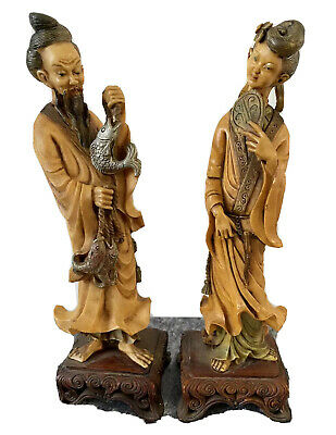 Vintage Chinese Resin Fisherman And Fisherman Wife Figurine Hand Painted Ornate