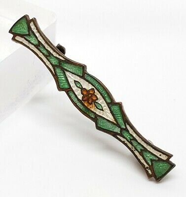 Antique Victorian White & Green Guilloche Enamel Floral Beauty Pin Brooch