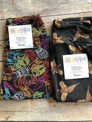 LulaRoe Tween Leggings - Owls / Birds Set Of Two -Black Background -Brand New