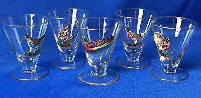 Blown Glass Shot Cordials Footed Glasses Bar Raised Painted Wildlife Birds Set 5
