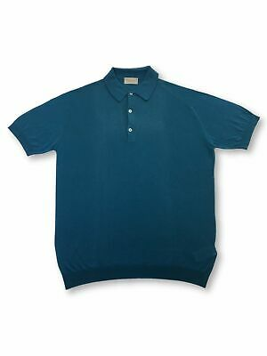 John Smedley Haddon standard fit knitted polo in blue FAULTY