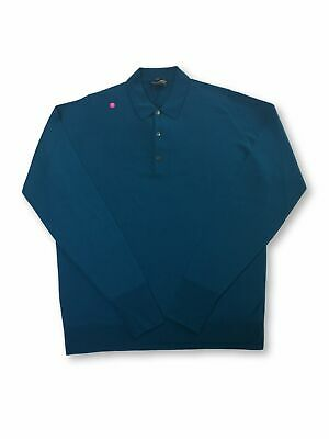 John Smedley Cotswold wool polo shirt in Egyptian blue FAULTY
