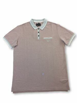 Henri Lloyd regular polo shirt in pink with grey tipping FAULTY