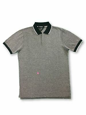 VNECK cotton polo in grey with contrast collar FAULTY M