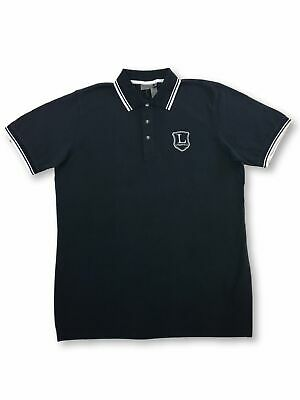 Lagerfeld cotton polo shirt in navy with white tipping and logo L