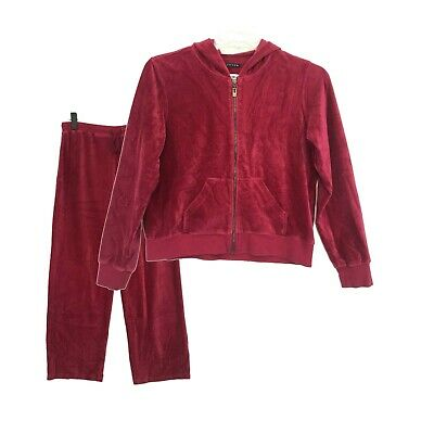 Activology Ribbed Velour Track Suit Petite L PL Red Pink Zip Up Jacket + Pants