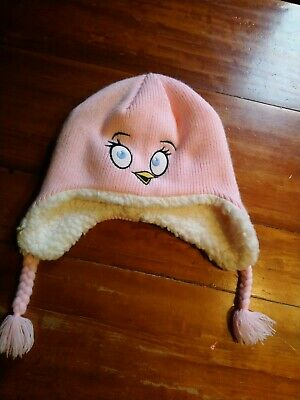 Girls Marks & Spencer,Pink Angry Birds Fluffy Hat,Long Ears & Plaits.10-14 years