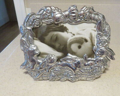 Arthur Court Designs Pewter Bunny Basket Picture Frame 1995 4 x 6