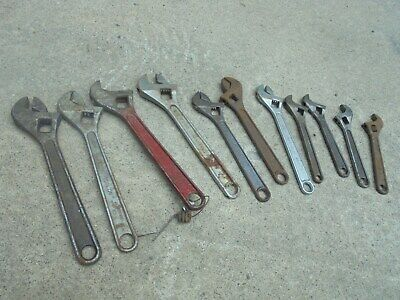 Vintage Lot of 11 Adjustable wrenches all needing repair Crescent Marshall Wells