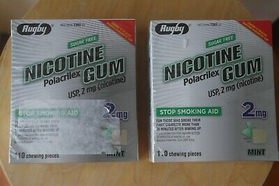 2 New Sealed Rugby Nicotine Gum 2mg Mint Original Total 220 Gums EXP 04/2022