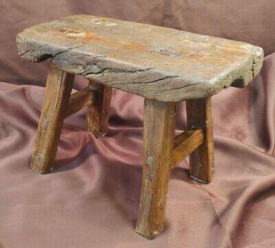 Antique Old Primitive Handmade Rustic Wooden Stool