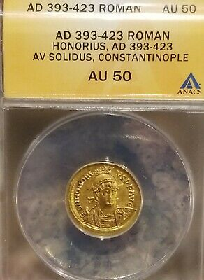 Western Roman Empire Honorius Gold Solidus ANACS 50 Ancient Coin