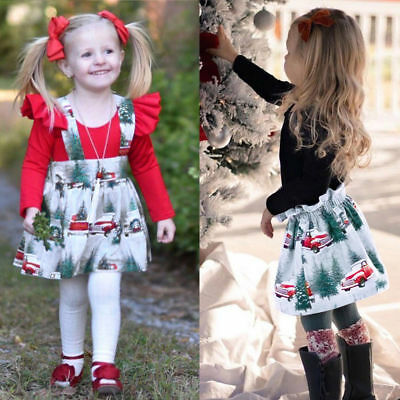 Toddler Infant Baby Girls Christmas XMAS Romper Strap Skirt Outfits Clothing L