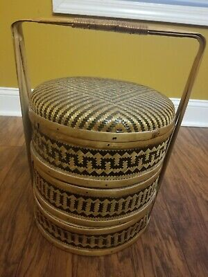 Vintage Asian Chinese 3 Tier Wedding Storage Basket Bamboo & Woven Rattan