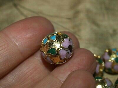 ONE Large Vintage Chinese Enamel Cloisonné Gold Bead Leaves Flowers Round 14mm
