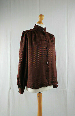 Vintage Victorian Style 1970s Chocolate Brown Balloon Sleeve Blouse