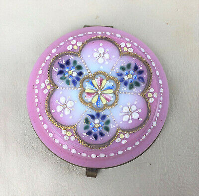Victorian Art Glass DRESSER BOX VANITY JAR TOP hand decorated enamel gilded