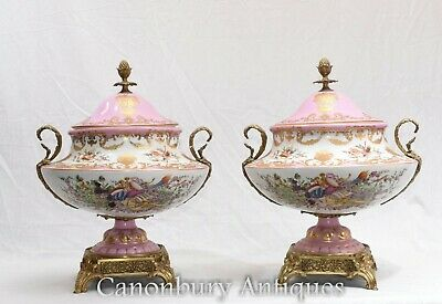 Pair French Sevres Porcelain Tureens Dish Bowls