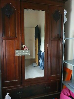 Antique Early 20th Century Solid Oak double and single wardrobes