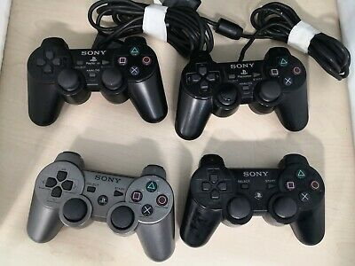 4 x Official Sony PlayStation Wired & Wireless Controllers PS2 PS3 #7B