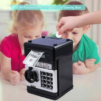 Electronic Piggy Bank ATM Password Money Box Automatic Deposit Cash Coins Saving