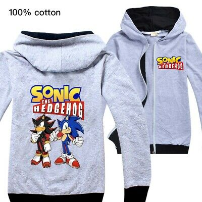 Sonic the Hedgehog boys thin hoodie jack zip top 100% cotton size 5-12
