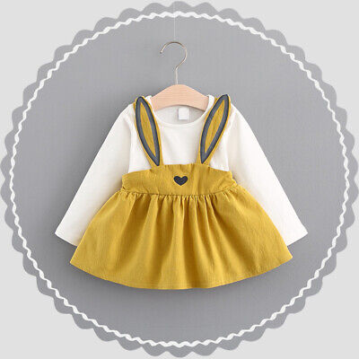 Toddler Kids Baby Girls Long Sleeve Rabbit Ears Ches Party Princess Dress