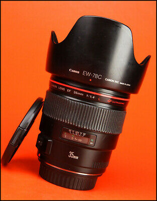 Canon EF 35mm F1.4 L USM  Prime Lens with Front / Rear Cap & Hood