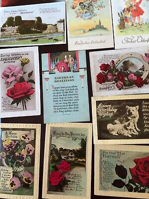 Selection Of 8 Vintage Birthday Postcards & 2 Easter Cards From 1930's