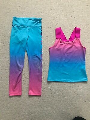 girls mermaid multi rainbow running gym sport sportswear set age 5-6