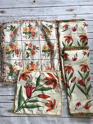 APRIL CORNELL Pink Orange Floral Cotton Euro Sham Covers 4 Shabby Chic Vintage