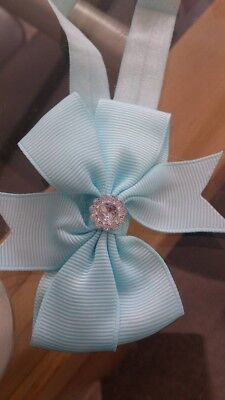 Baby Hair Headbands x 2 9cm Bow + Diamante Toddler Girls Pale Blue& Peachy Pink