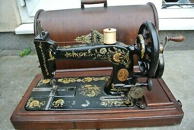 Antique SINGER 48K Sewing Machine with Case & Ottoman Carnation Decals