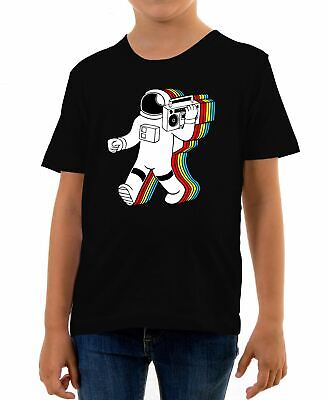 Kids Funky Spaceman T-Shirt Astronaught Shuttle Spaceship Science Planet Moon